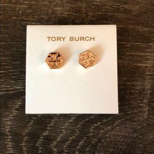 Tory Burch Gold Stud Logo Earrings